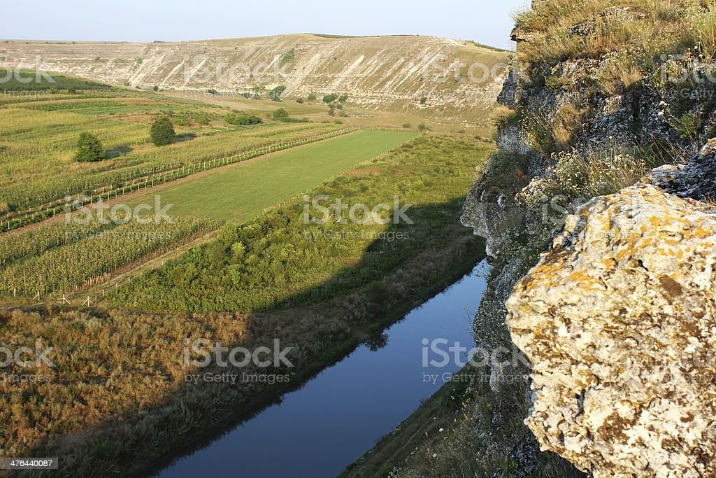 Typical landscape of Orheiul Vechi with Raut river royalty-free stock photo