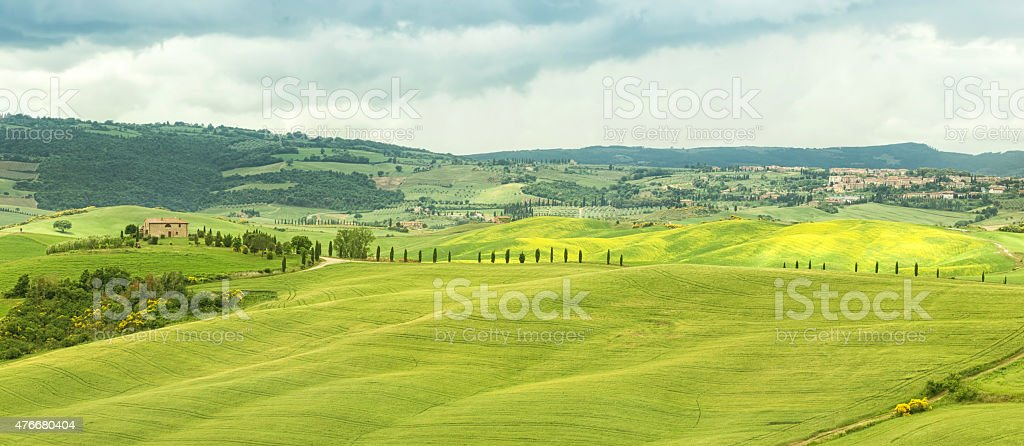 Typical landscape of the Tuscan hills in Italy stock photo