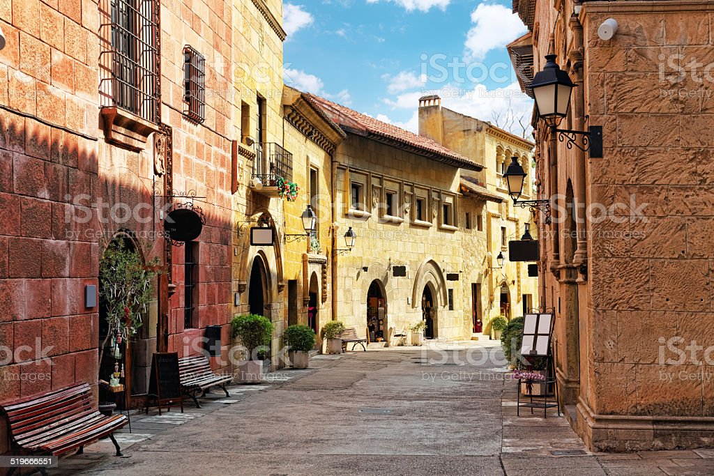 Typical landscapes and authentic Catalan cozy streets in cities stock photo