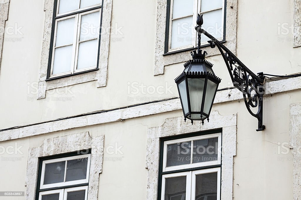 Typical Lisbon street lamp royalty-free stock photo