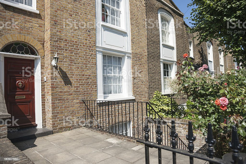 Typical London row house door and entrance. royalty-free stock photo