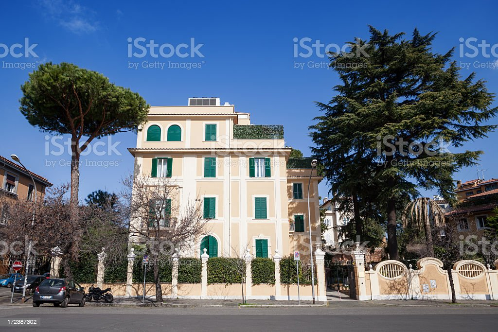 Typical luxuous palace of Aventino distric, Rome stock photo