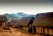 Typical malagasy village - african hut, poverty in madagascar