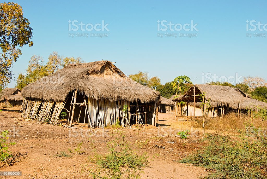 Typical malagasy village - african hut, poverty in madagascar stock photo