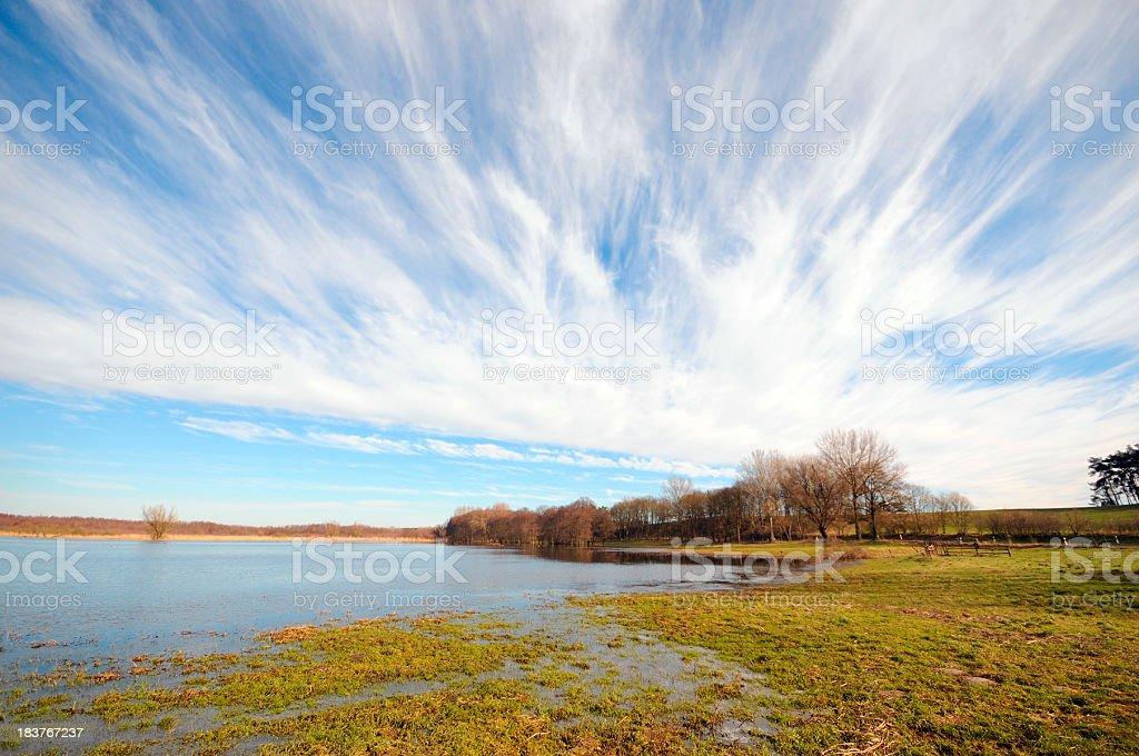 typical meadow during flood at havel river (Brandenburg Germany) stock photo