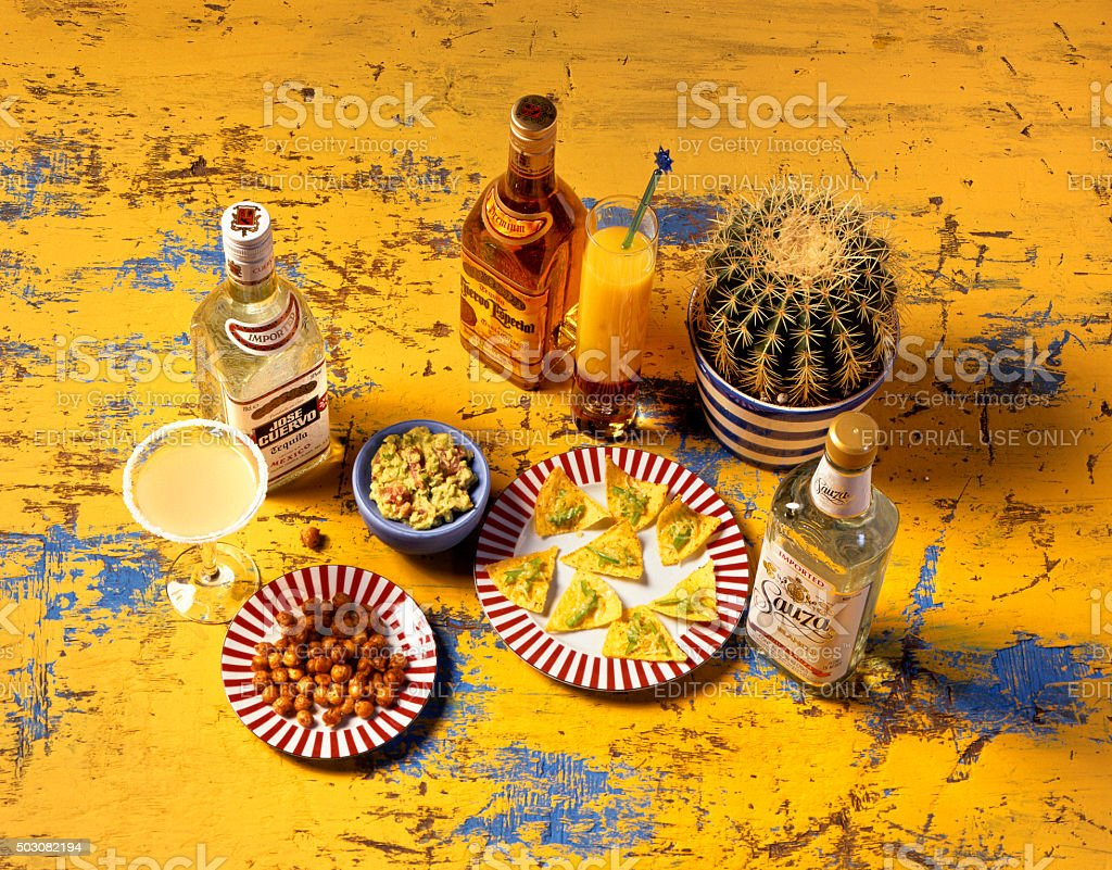 Typical Mexican food and drinks. stock photo
