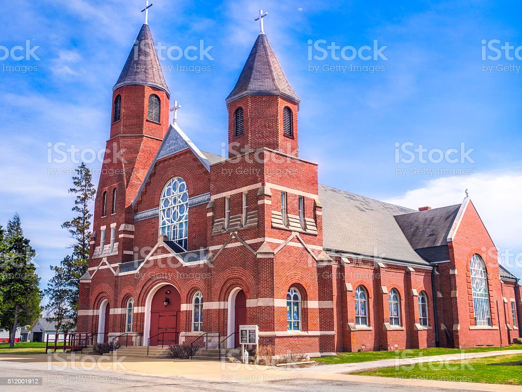 Typical Midwestern US Catholic Church stock photo