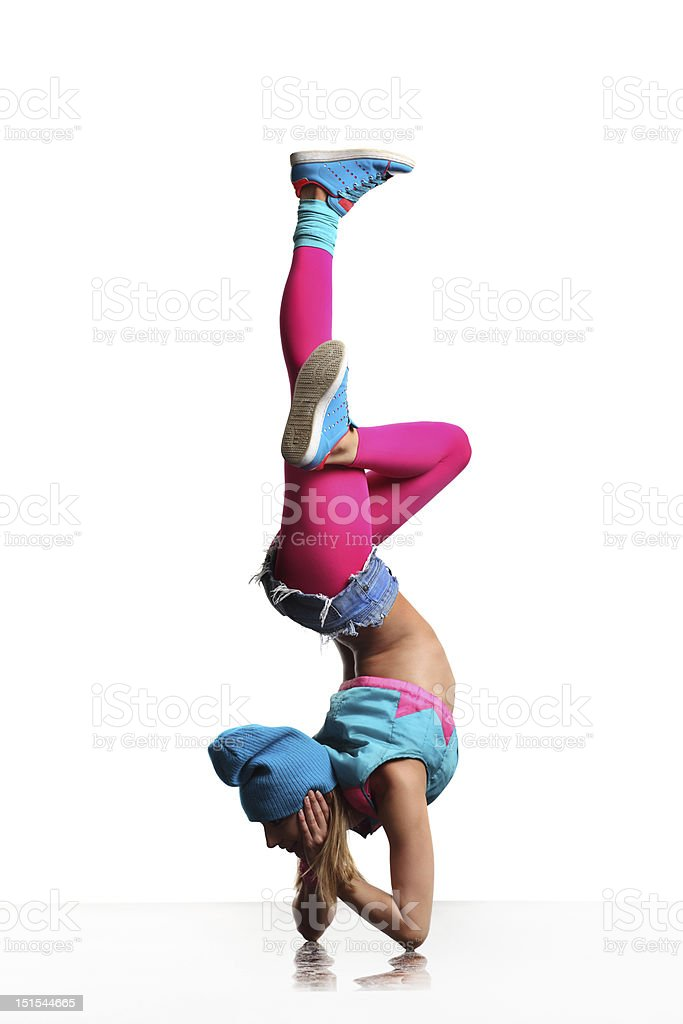 A typical modern dancer in blue and pink  stock photo