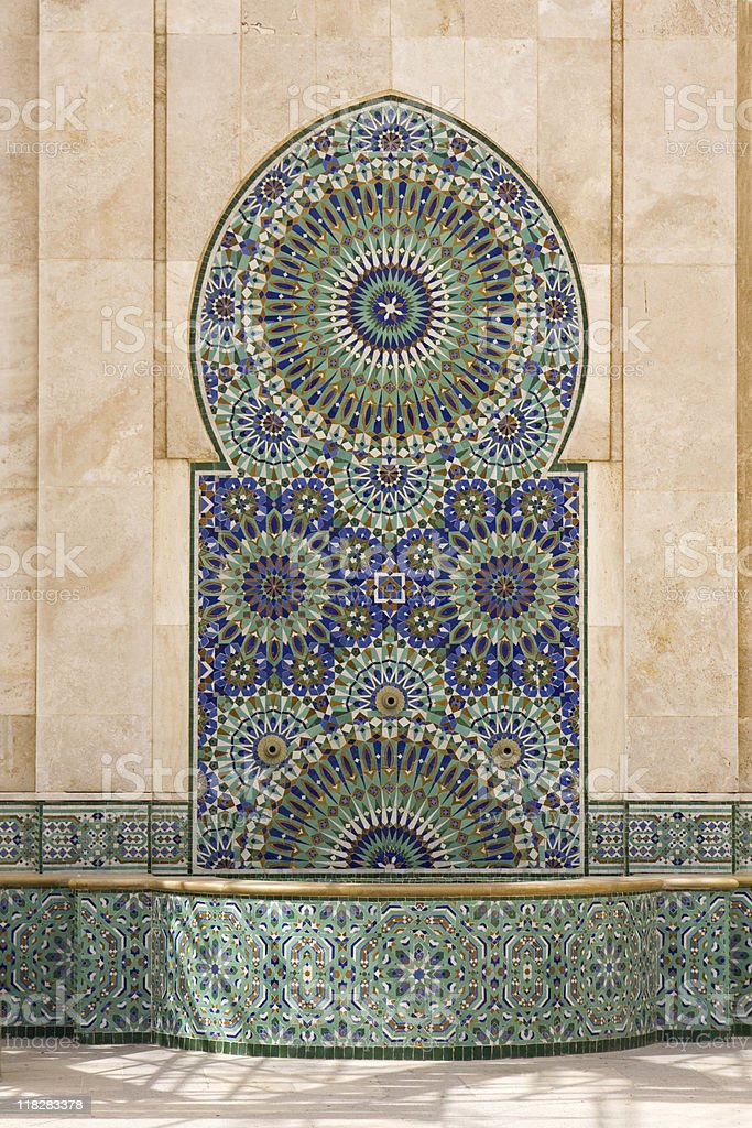 Typical moroccan tiled fountain stock photo