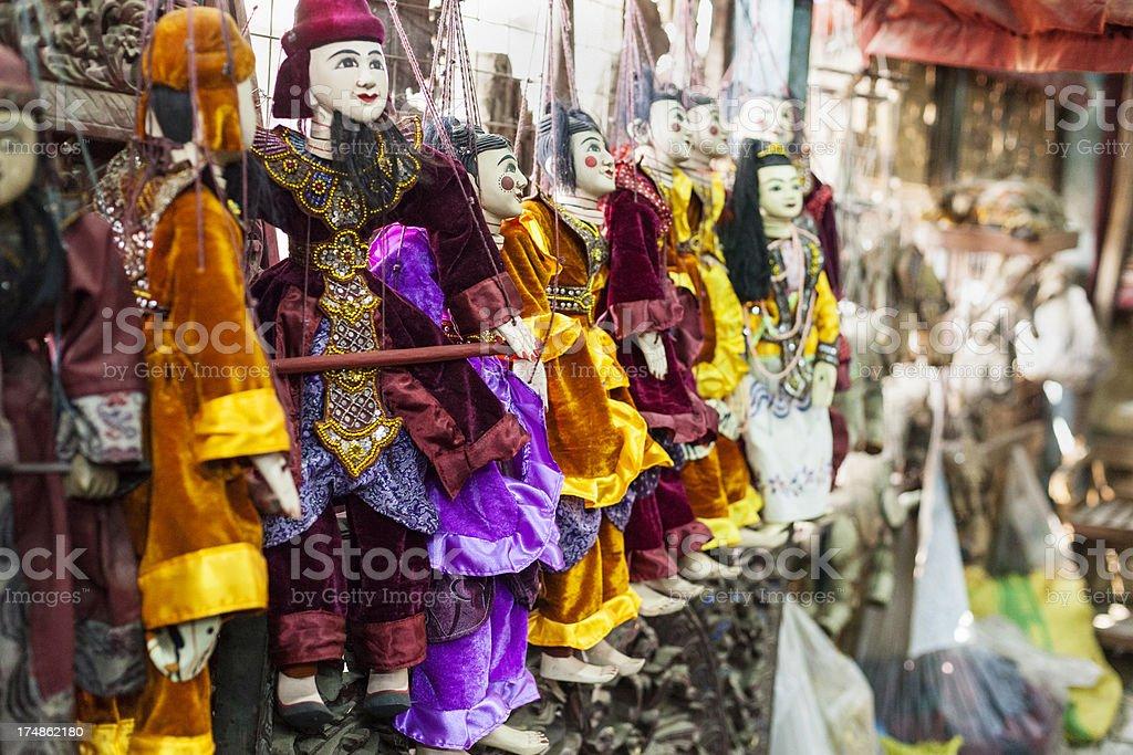 Typical Myanmar marionett dolls royalty-free stock photo