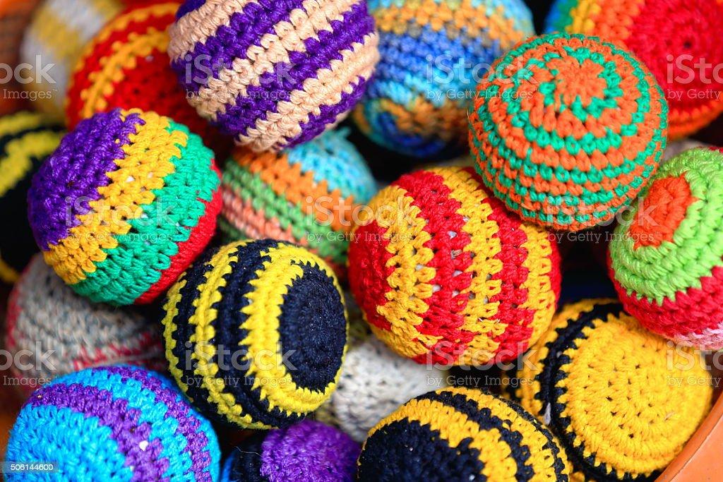Typical nepalese crochet woolen balls. Kathmandu-Nepal. 2026 stock photo