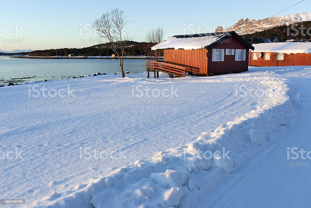 Typical Norwegian fishing lodges (rorbuer) with birch trees in snow royalty-free stock photo