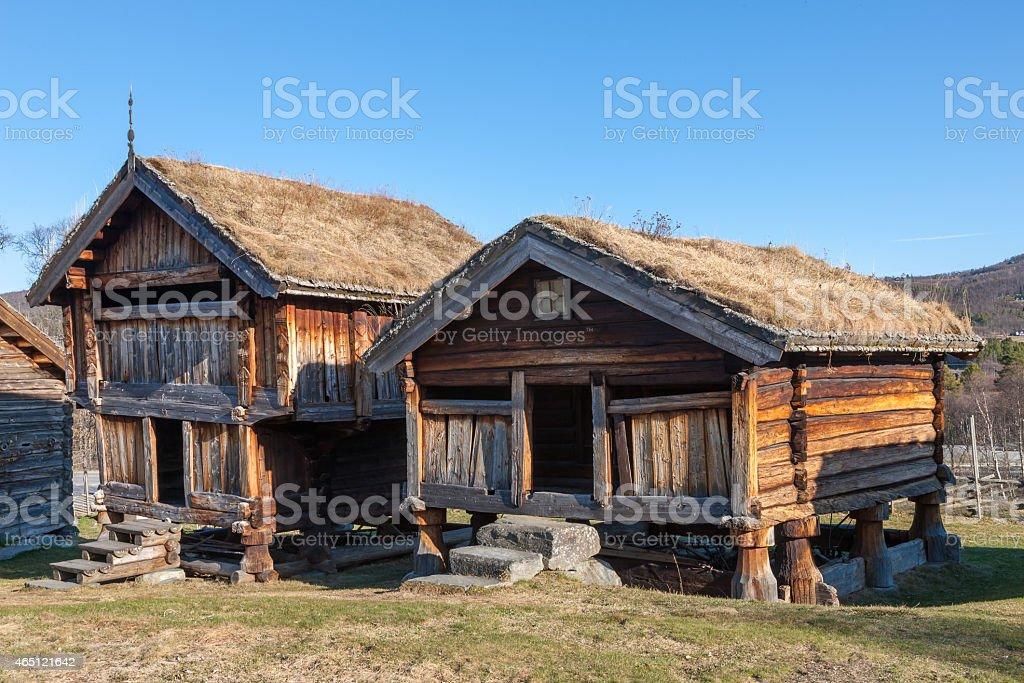 typical Norwegian  wooden houses - farmhouse yard, stockholm stock photo