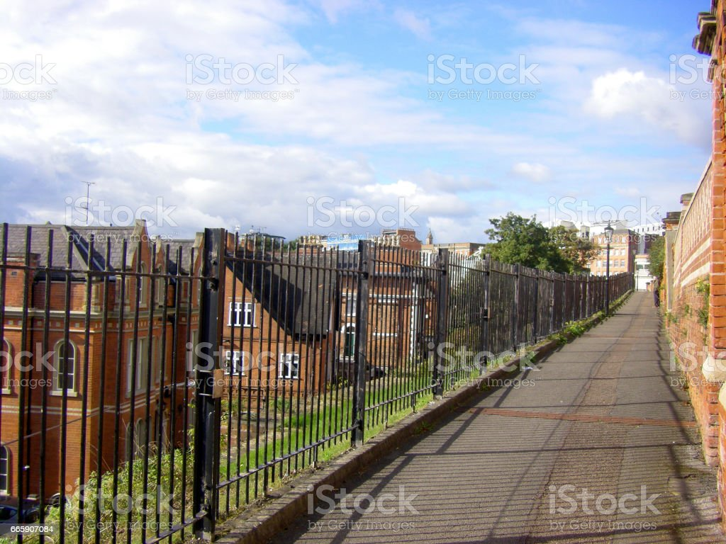 typical old brick buildings in Nottingham stock photo