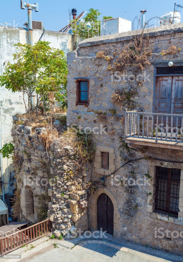 Typical old city houses, Kyrenia, North Cyprus stock photo