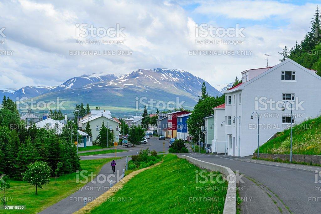 Typical old houses, in Akureyri stock photo