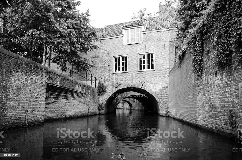 Typical old houses in historic center of Den Bosch stock photo