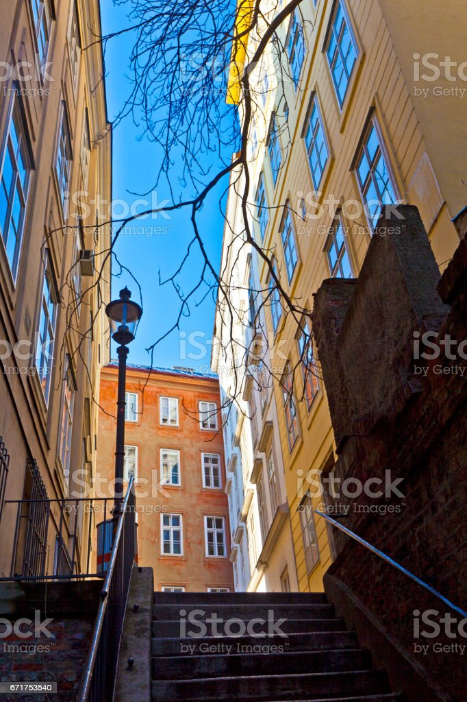 typical old houses in Vienna first district in the famous area Moelker Steig stock photo