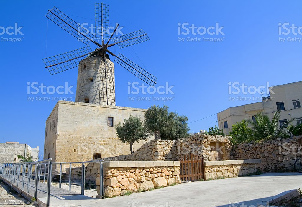 Typical old windmill in Malta royalty-free stock photo