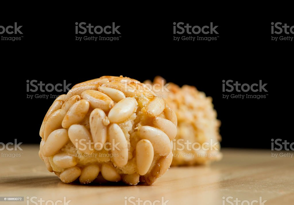 Typical panellets - Home made stock photo