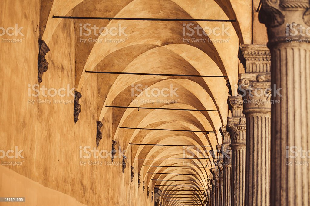 Typical portico in Bologna, Italy stock photo