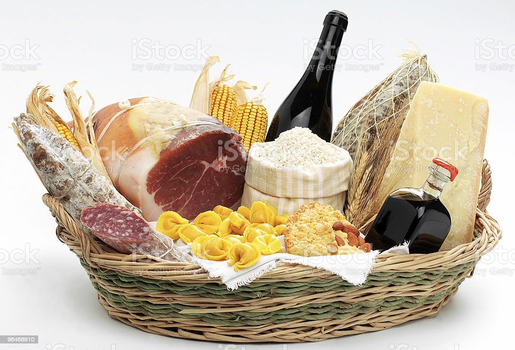 Typical products of Emilia-Romagna (Italy) royalty-free stock photo