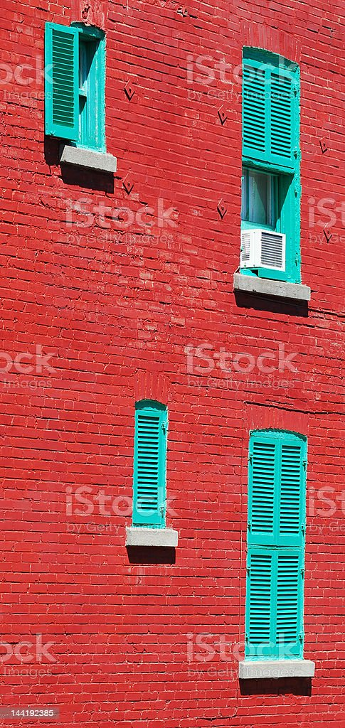 Typical red brick wall in Montreal, Canada royalty-free stock photo