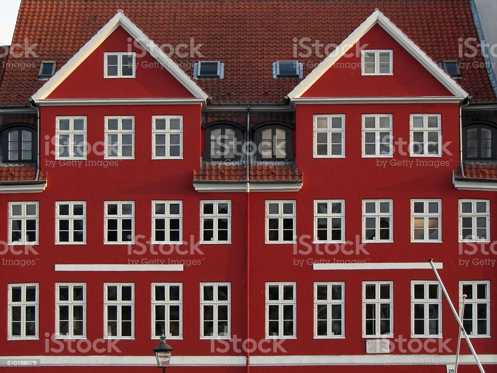 Typical, red Danish houses stock photo
