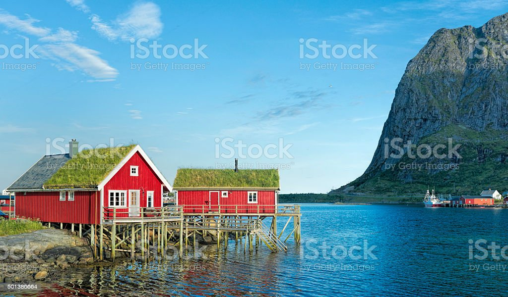Typical red rorbuer in Reine on Lofoten Islands, Norway stock photo