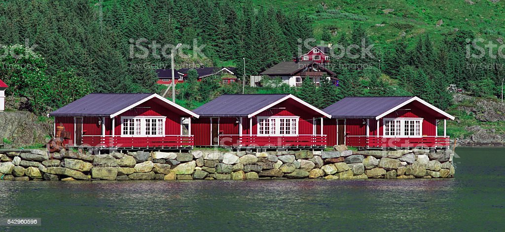 Typical red rorbuer on Lofoten Islands, Norway stock photo