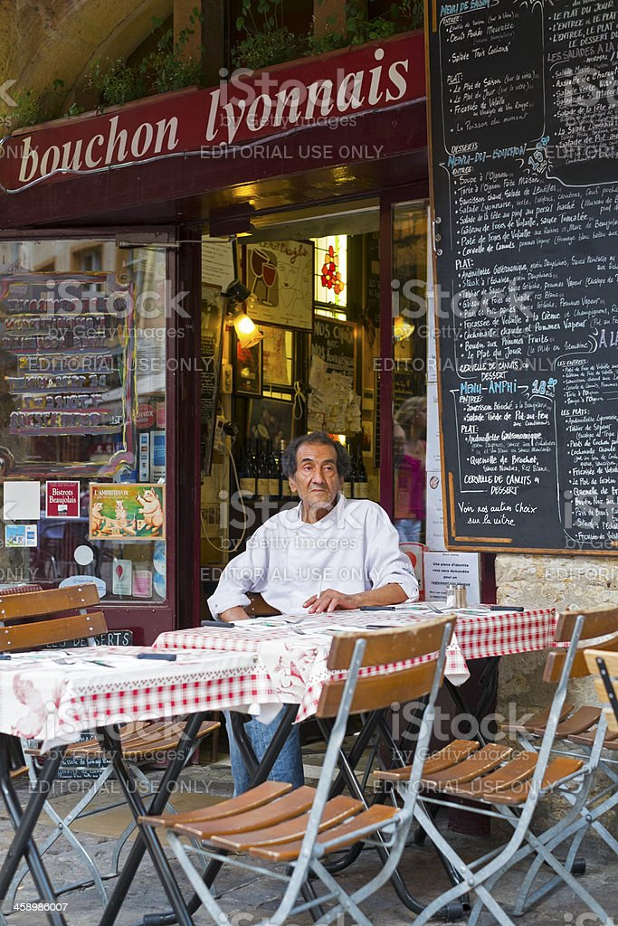 Typical restaurant in Lyon stock photo