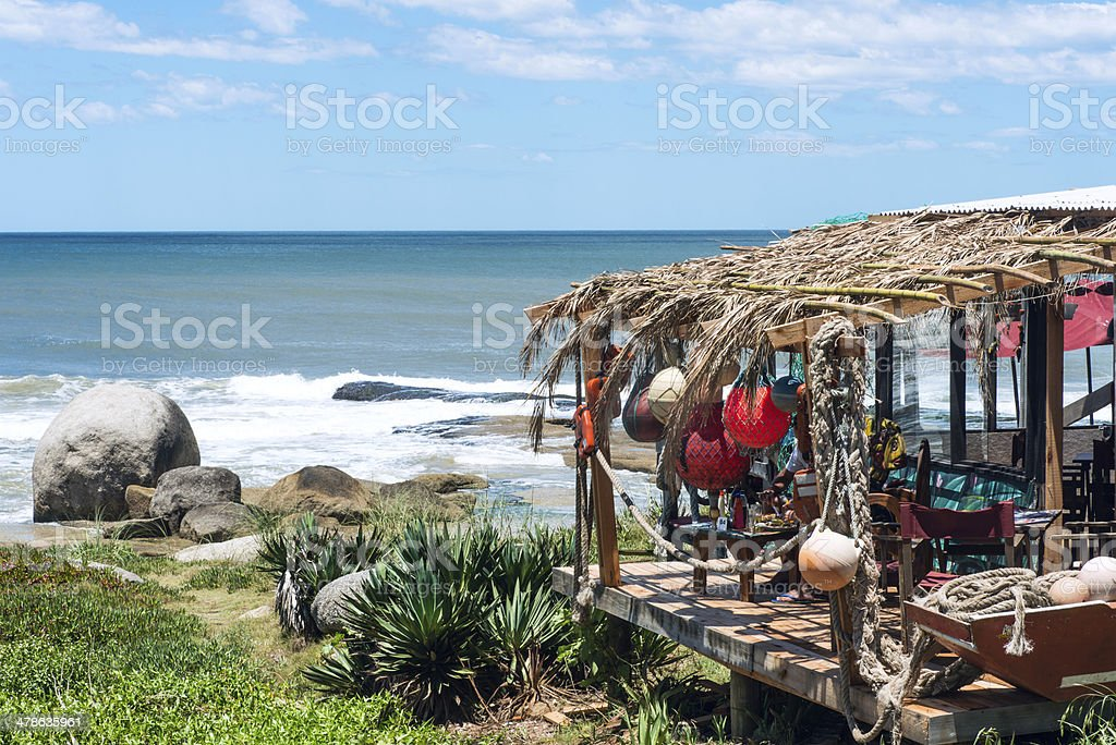 Typical restaurant on the coast of Uruguay stock photo