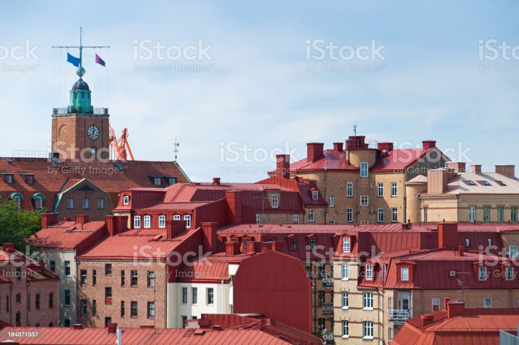 Typical roof tops of Gothenburg stock photo