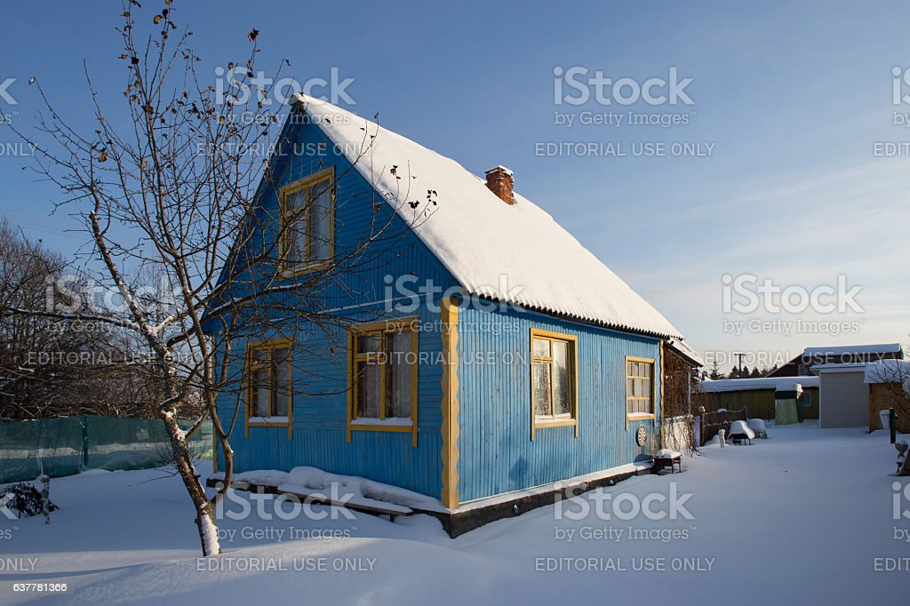 Typical Russian dacha in winter stock photo