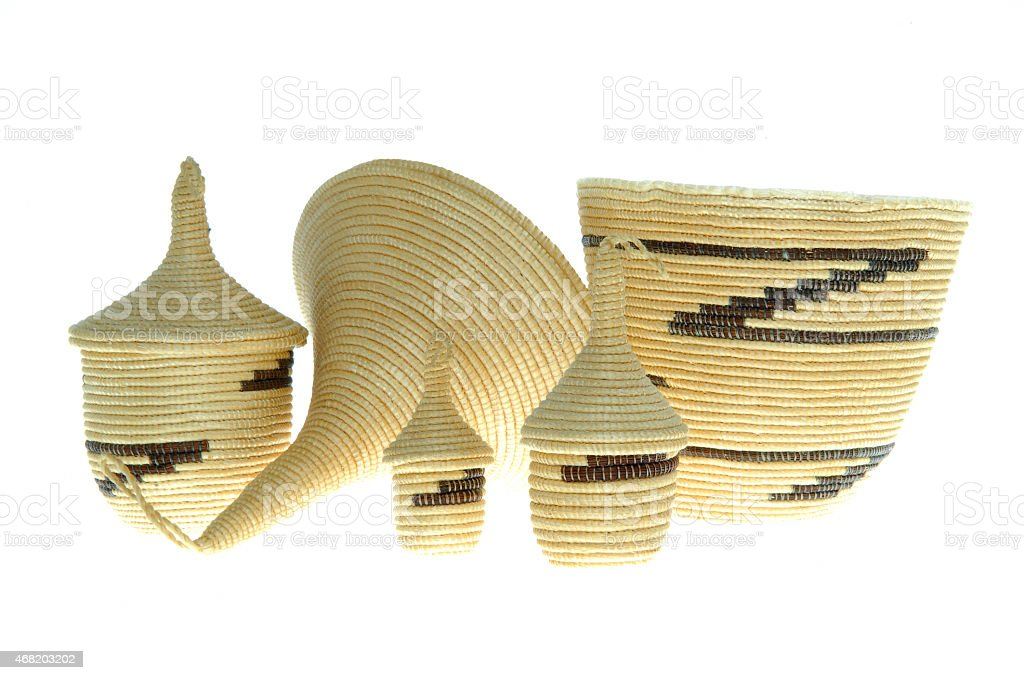 Typical Rwandan small baskets stock photo