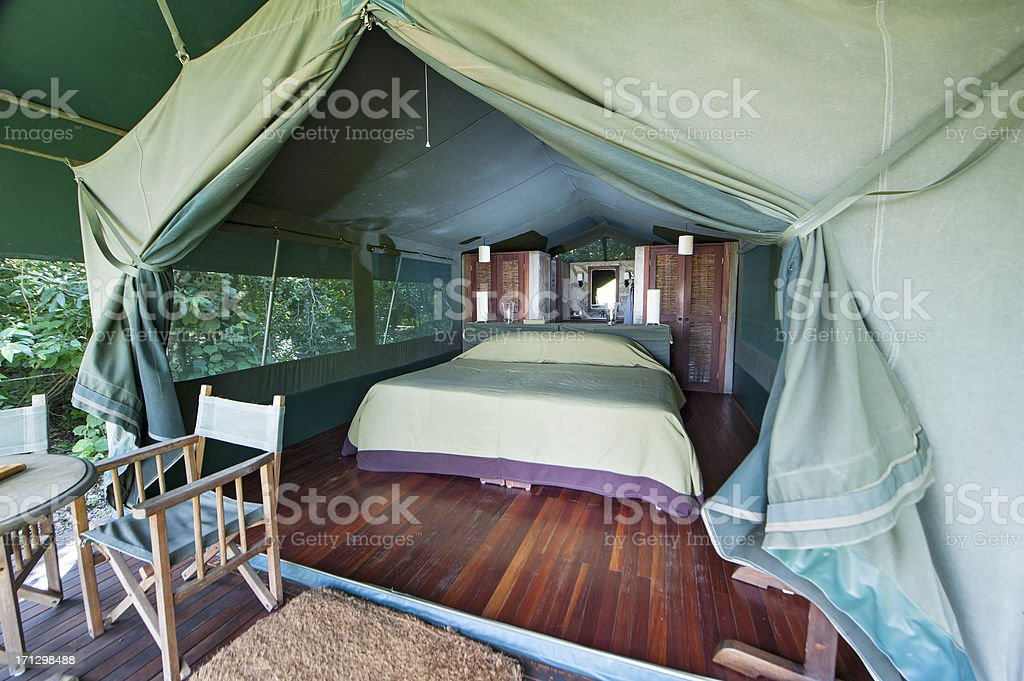 Typical Safari tent in a Luxury Tented Lodge stock photo