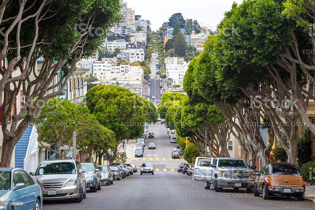 Typical San Francisco hilly neighborhood, California, USA stock photo