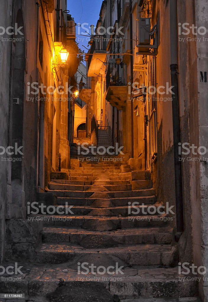 Typical Sicilian village in the evening stock photo