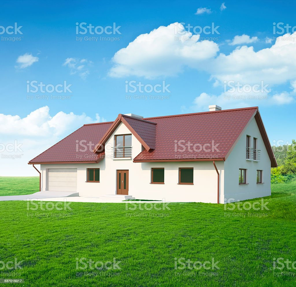 Typical simple central european house just finished royalty free stock photo