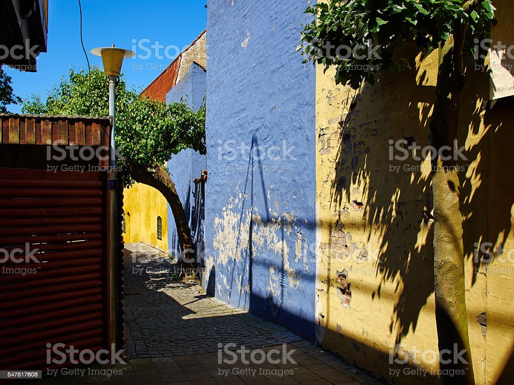 Typical small street with old houses Denmark stock photo