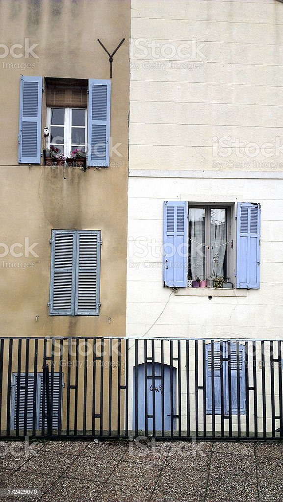 Typical southern french windows in Marseille, France stock photo