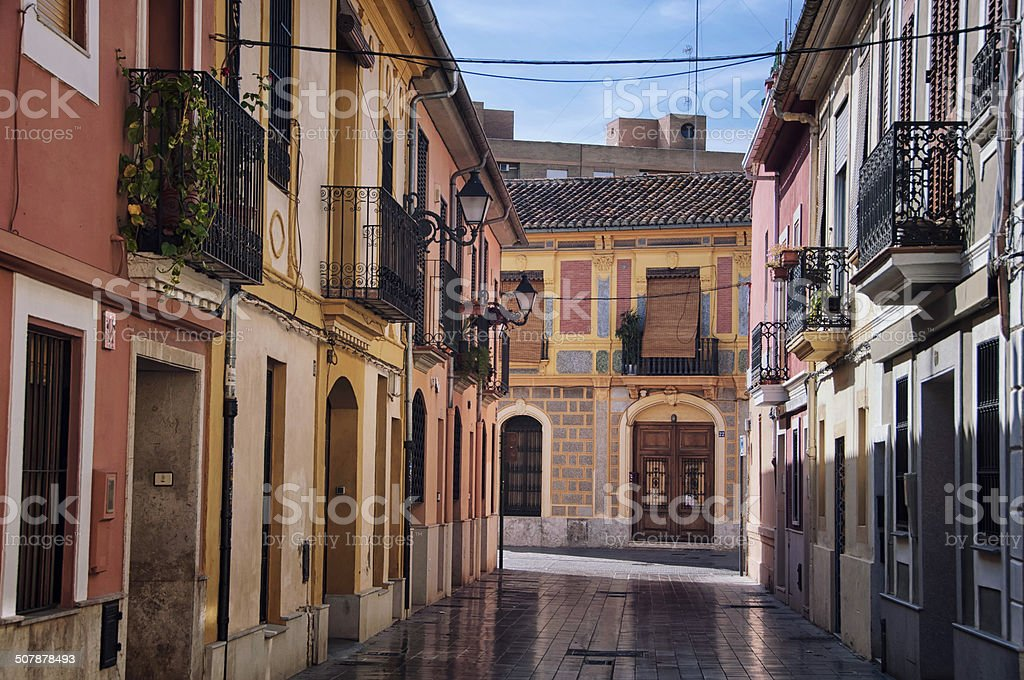 Typical Spanish houses in the old part of Valencia stock photo
