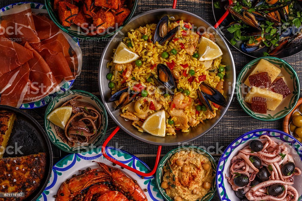 Typical spanish tapas concept, top view. stock photo