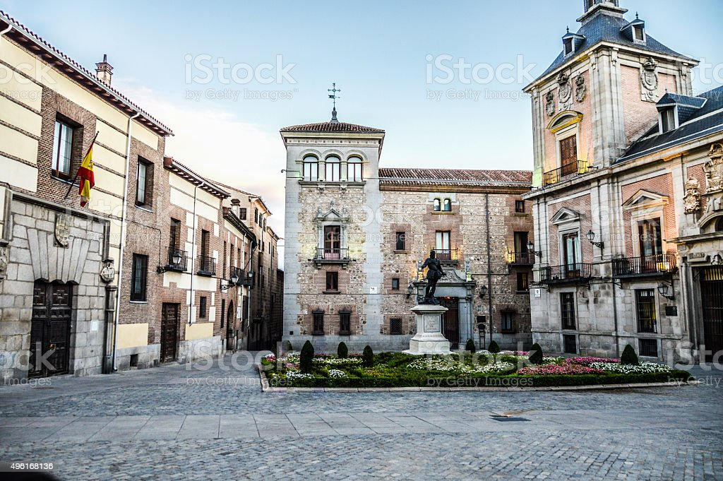 Typical Spanish town square in Madrid, Spain stock photo