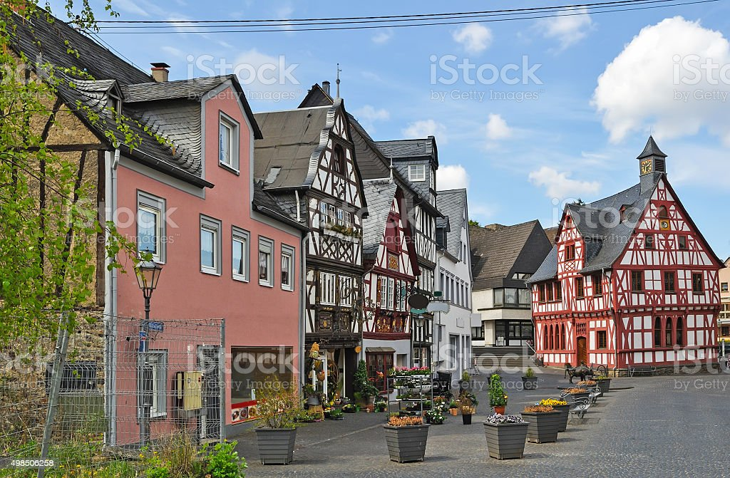 typical square in Cochem stock photo