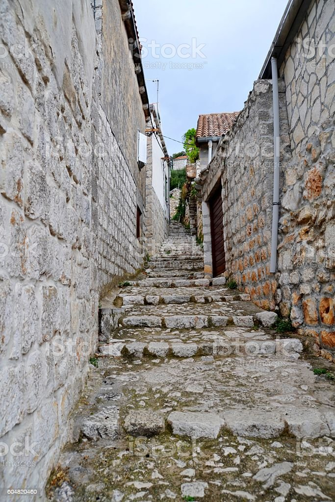 Typical stairway at the old city. stock photo