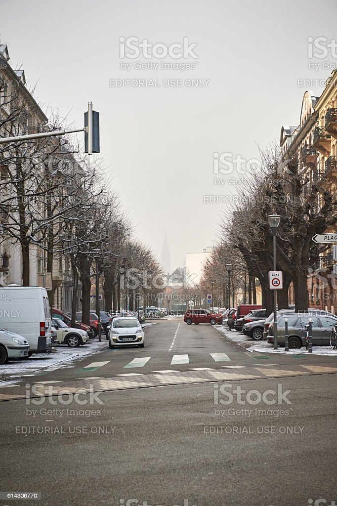 Typical Strasbourg street with Cathedral in the background stock photo