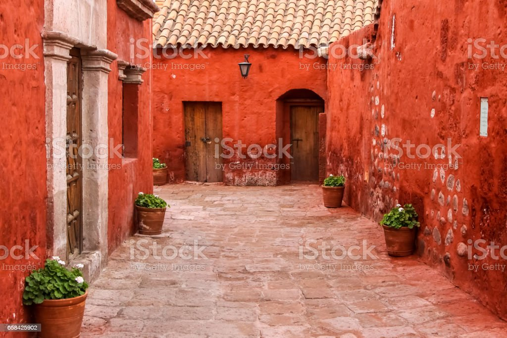 Typical street and painted buildings in historic Santa Catalina Monastery, Arequipa stock photo