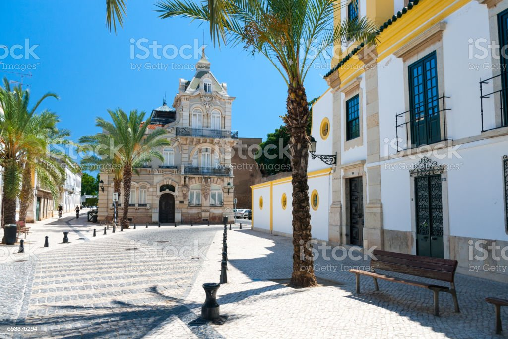 Typical street in Faro, Portugal stock photo