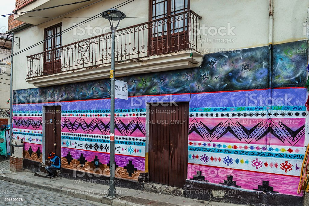 Typical street in La Paz, Bolivia stock photo